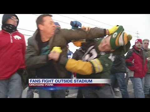 Bills fans and Packers fans fight after the game
