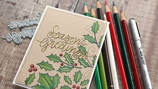 Holiday Card Series 2018 - Day 24 - Colored Pencils on Kraft Cardstock