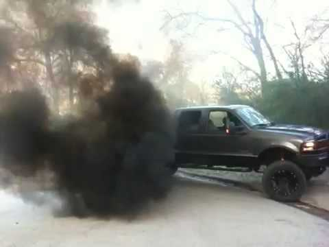 f250 diesel black smoke - YouTube