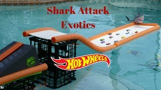 Hot Wheels exotics shark attack swimming pool tournament race