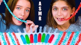 ASMR NERDS ROPE JELLY CANDY RACE with SUPER SOUR CANDY JELLO | Eating Sound Lilibu