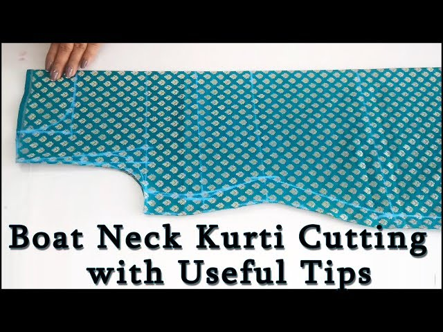 How to make Perfect Boat Neck   Boat Neck Kurti Cutting (Step by Step ) in Easy Way