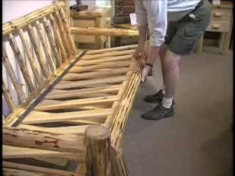 Misty Mountain Furniture Log Sofa Futon   YouTube