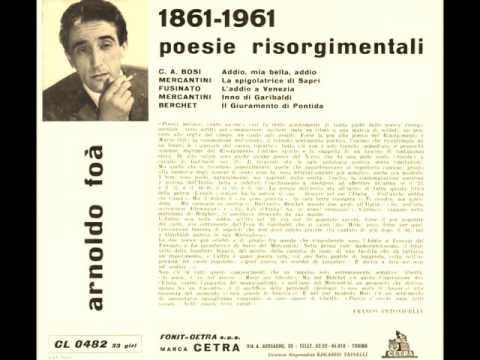 Arnoldo Foà   1861 1961 Poesie Risorgimentali 04   Mercantini Inno a Garibaldi 23 03 1961