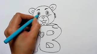 How to draw alphabet B with bear cartoon