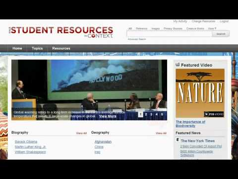 Highlights of Gale's Student Resources in Context