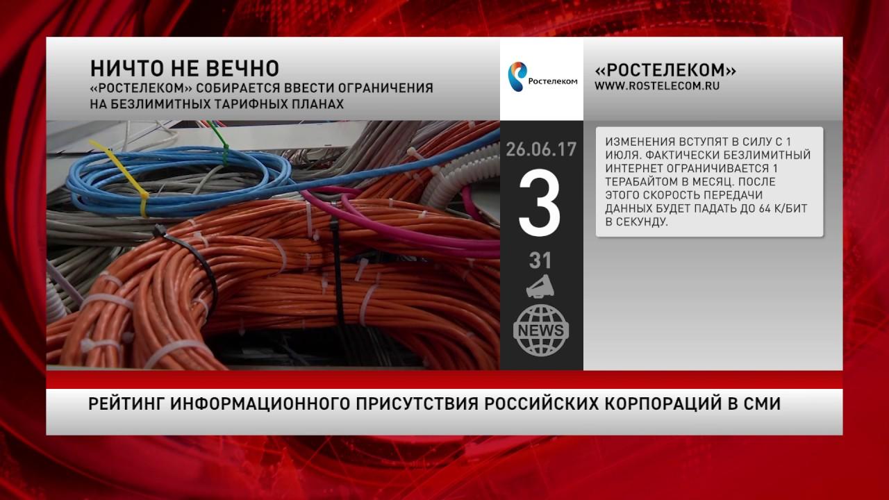 Рейтинг информационного присутствия российских корпораций в СМИ за 26 июня