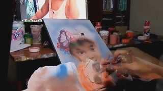 Retrato pintado con aerografo