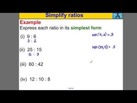 Simplify ratios