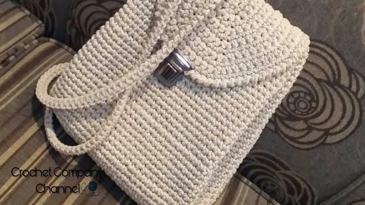 eddfc6c80dcd4 كروشيه شنطه ظهر بخيط المكرميه ( الجزء الاول ) - How to Crochet Easy ...