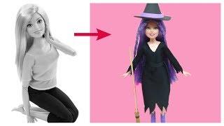Halloween 2018- Hóa trang cho búp bê thành PHÙ THỦY- May váy, làm mũ, làm chổi phù thủy/ Ami DIY