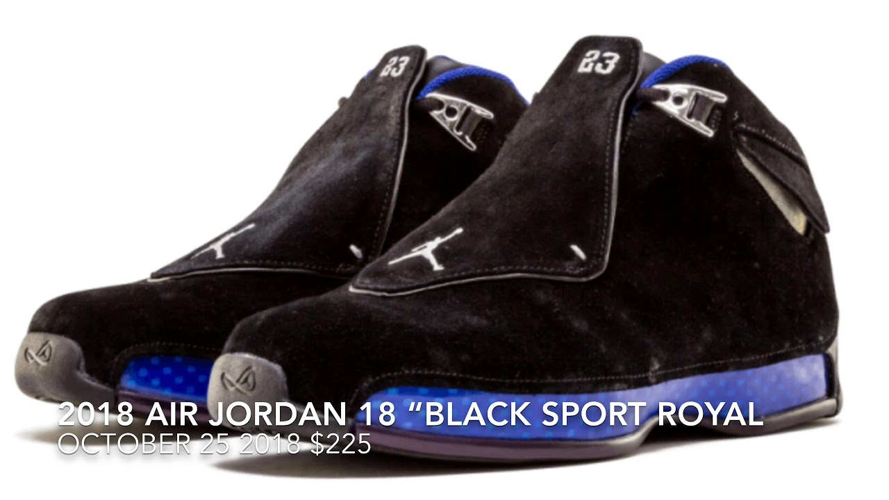 "2018 AIR JORDAN 18 ""BLACK SPORT ROYAL BLUE"" AKA THE BEST ONE"