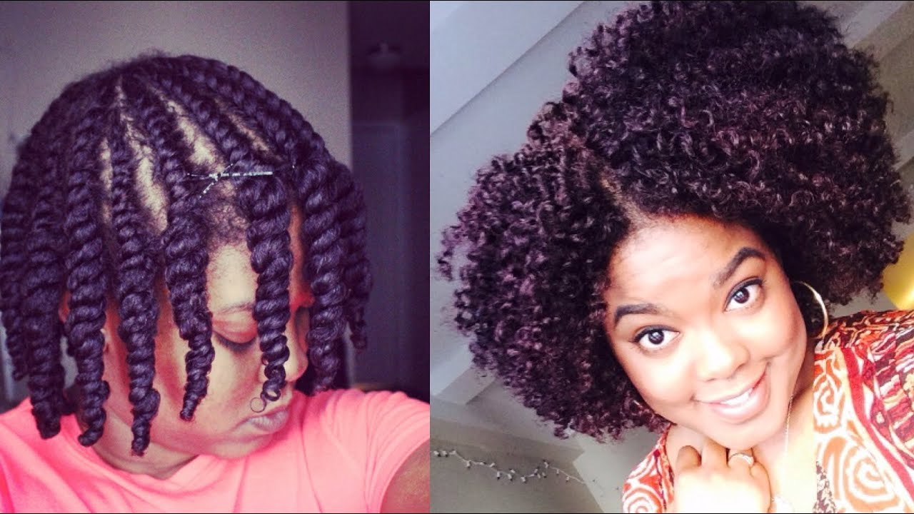 Natural Hair Styles With Marley Hair: Updated Flat-Twist Out - YouTube