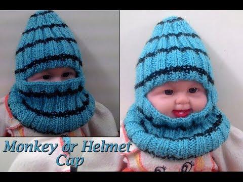 Monkey Helmet Cap in Easy Hindi Knitting (मंकी कैप कैसे बनाये) | Knitting Hindi |