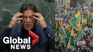 """Pakistan PM warns """"bloodbath"""" in Kashmir as protesters in Lahore march against India"""
