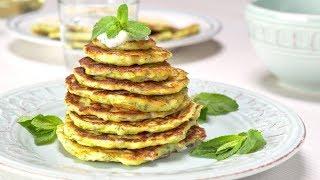 Оладьи из кабачков с соусом дзадзики. Греческая кухня. Рецепт от Всегда Вкусно!
