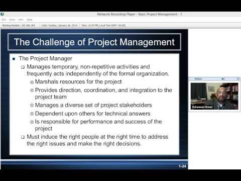 Basic Project Management - (Part 1) By Dr. Mohammad Sohail Ahmed