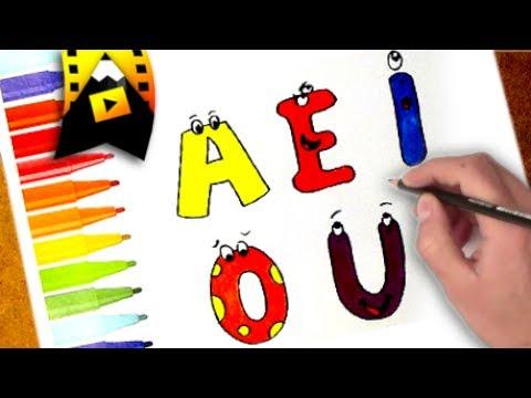 Como Dibujar Y Colorear Las Vocales Youtube
