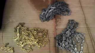 10 speed mountain bike chain weight comparison sram pc 1051 vs kmc x10 vs kmc x10sl gold