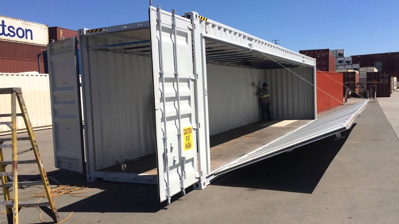 40 Shipping Container Side Hinge Wall Opening Youtube