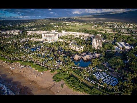 Hawaii - Four Seasons Resort - Grand Wailea Resort Beach in Maui 4K UHD Aerial