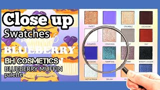 BLUEBERRY MUFFIN palette SWATCHES | BH COSMETICS Week-End Vibes | Close Up