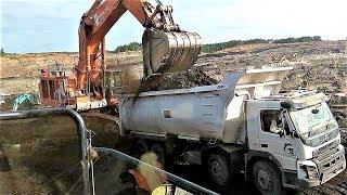 BIG Excavator Digging Loading Coal Into Dump Truck Komatsu PC2000 Hitachi EX1200