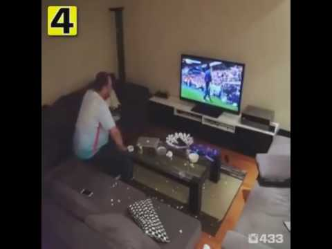 Hillarious Footage: Angry Turkey Football Fan Smashes His TV and Laptop (EURO 2016)