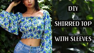 SEW SHIRRED TOP WITH SLEEVES ( Easy Step By Step)