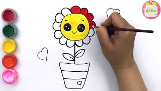 How to Draw and Color A Cute Blooming Flower Learning Color by Drawing for Kids | Candy Kids Art☆