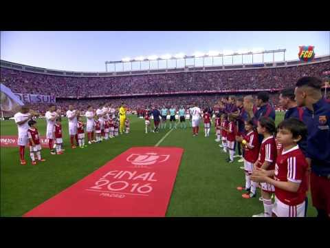FC Barcelona – Sevilla FC: Guard of honour for the league champions (Copa Final 2016)