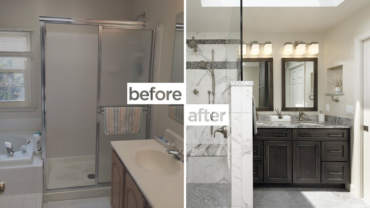 Gorgeous Before & After of these Centreville, Virginia Bathroom Remodels |  NVS Kitchen and Bath
