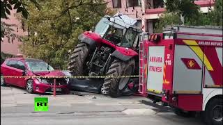 Man plows tractor into cars on way to protest at Israeli embassy in Ankara