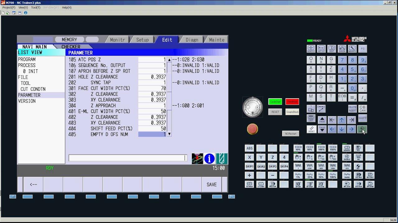 Mitsubishi Cnc Navi Mill Parameter Settings Youtube