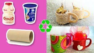 Tacitas de regalo para el 14 de Febrero con material reciclado