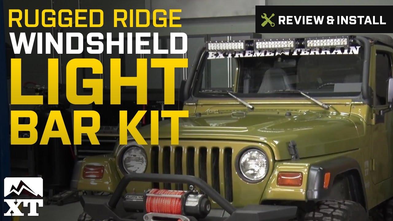 Jeep wrangler rugged ridge windshield light bar kit 1997 2006 tj jeep wrangler rugged ridge windshield light bar kit 1997 2006 tj review install aloadofball Choice Image