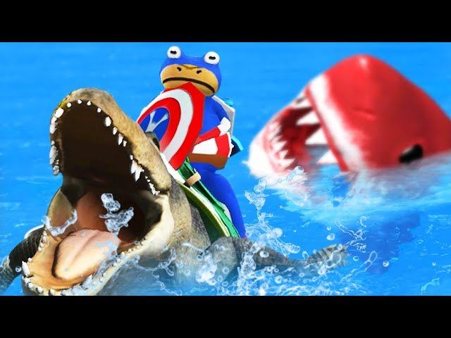 Captain America Frog Rides an Alligator vs Red Megalodon - Amazing Frog Part 175 | Pungence