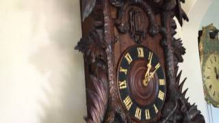 Large Heavily Carved Antique Black Forest Cuckoo Clock 3 Feet High Circa 1890-1900