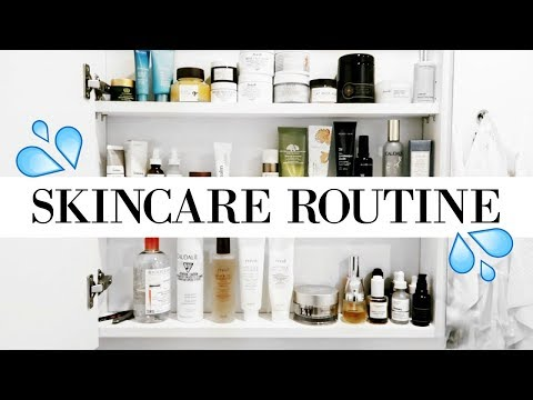 DAY + NIGHT SKINCARE ROUTINE + Skincare Shelf Tour | allanaramaa