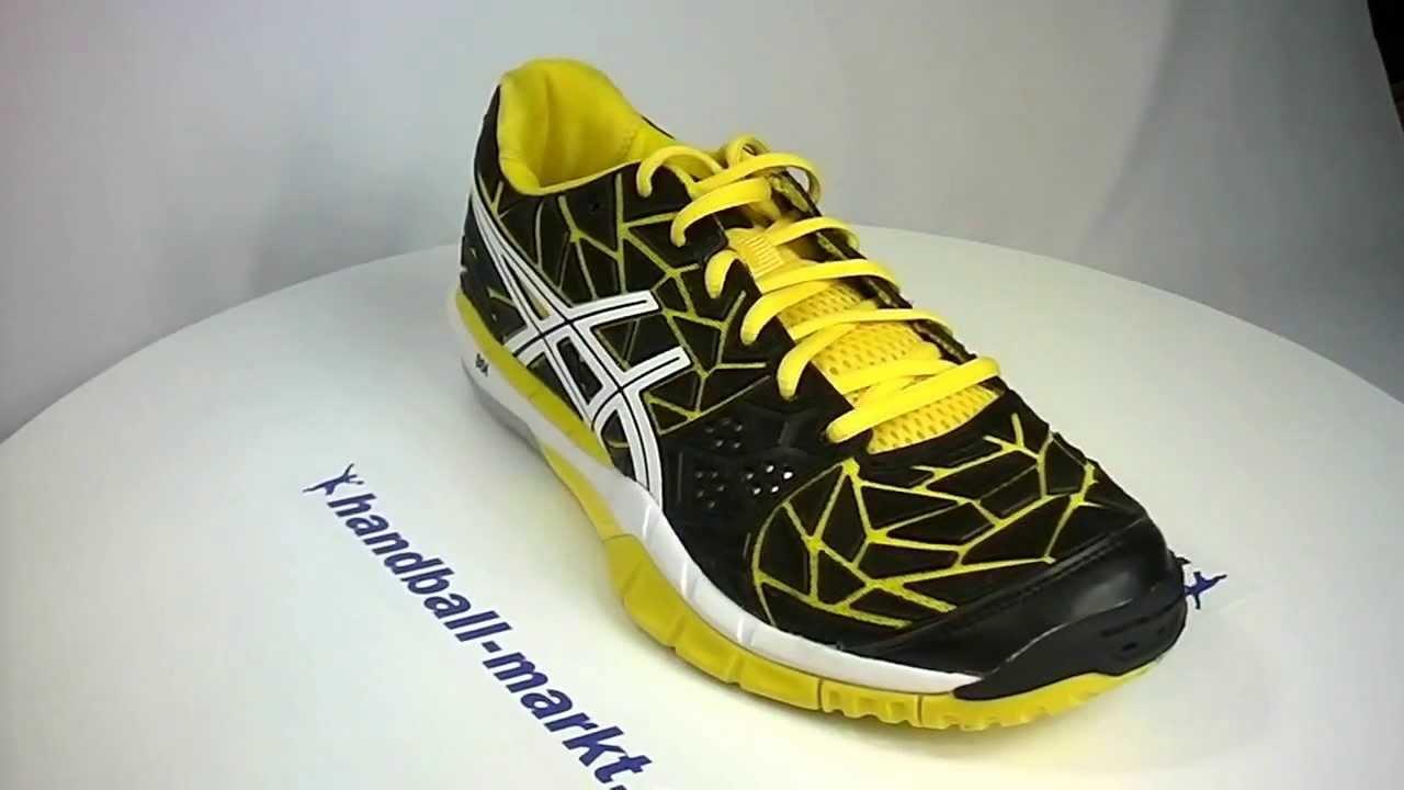 asics handballschuhe gel fireblast yellow black youtube. Black Bedroom Furniture Sets. Home Design Ideas