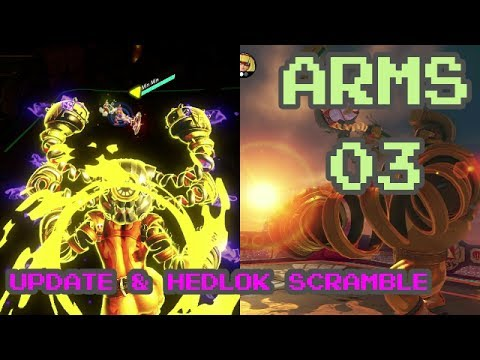 ARMS Gameplay Part 3 - UPDATE 2.0 w/ MAX BRASS | Hedlok Scramble | Party Match + Versus