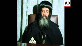 SYND 22 9 75 INTERVIEW WITH SHENOUDA LEADER OF COPTIC ORTHODOX CHURCH ON SINAI