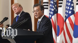 Baixar Trump welcomes South Korea's Moon to the White House