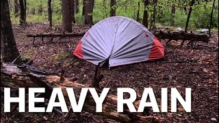 Solo camping under heąvy rain in the woods/ Backpacking Heavy rain sounds