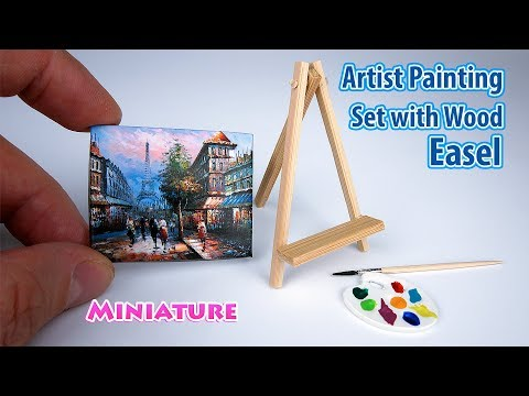 DIY Realistic Miniature Artist Painting Set with Wood Easel | DollHouse