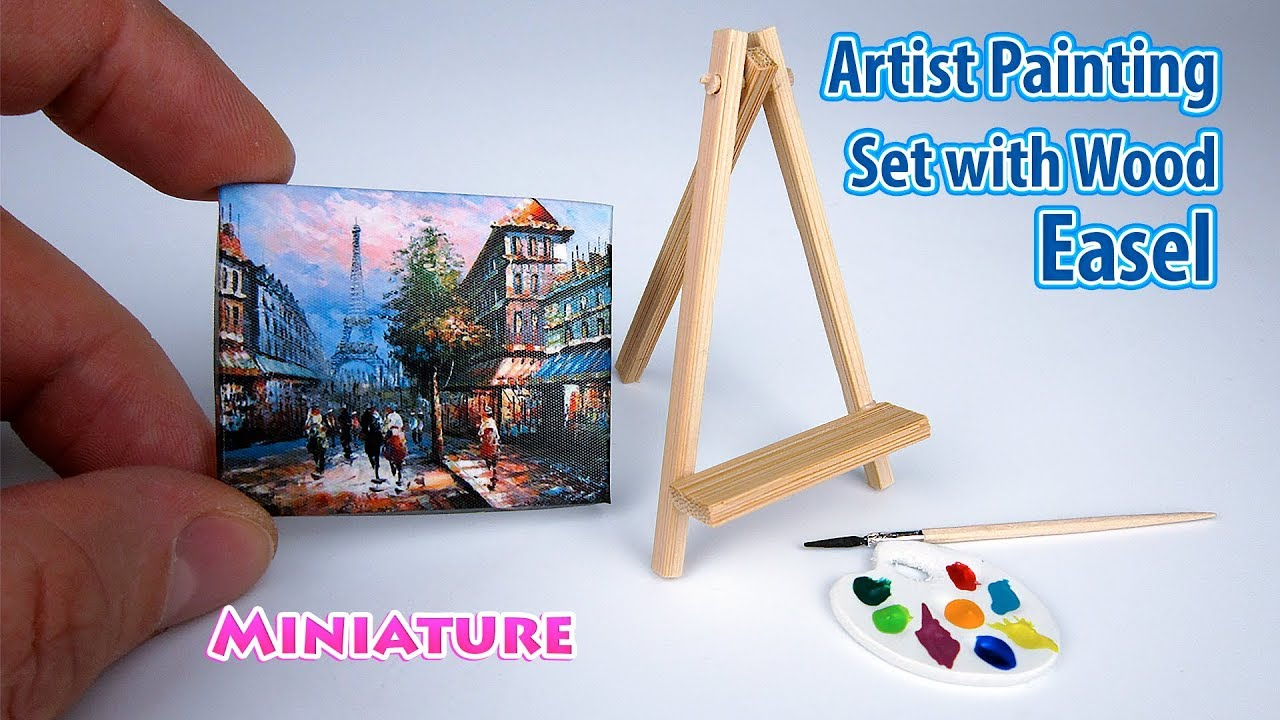 Diy Realistic Miniature Artist Painting Set With Wood