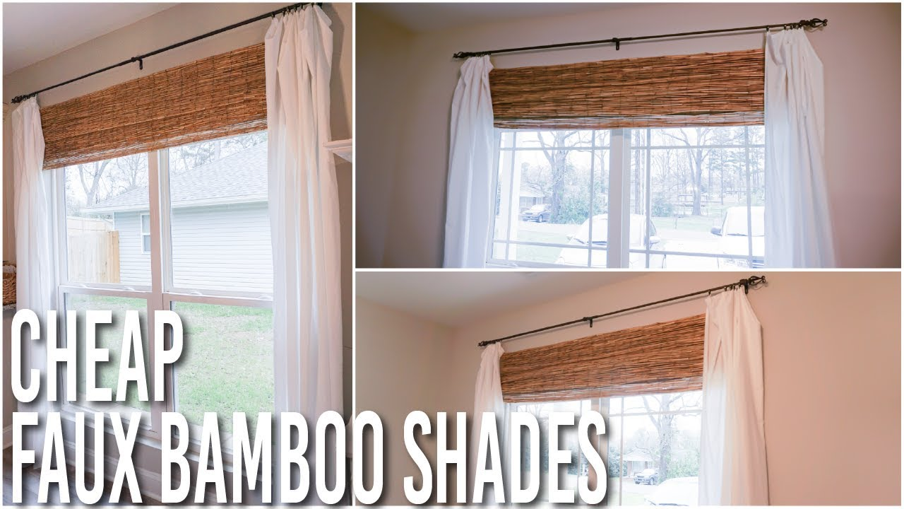 Diy faux bamboo roman shades hack inexpensive and easy