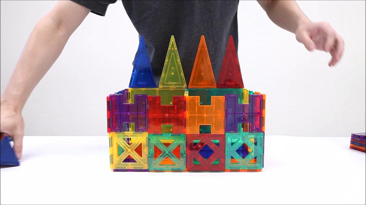 PicassoTiles PT82 Magnetic Building Blocks 82pcs Magnetic Tiles