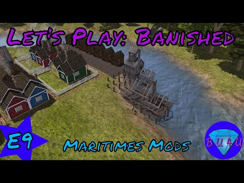Trade dock, lumber cutter & Town Hall - Banished | Maritime mods | Let's Play | S1E9