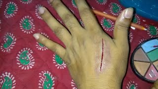 How to make a fake cuts using scar wax-Red pen & makeup(Fake hand cuts trick) Halloween scar cuts